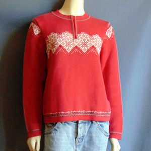 Hanna Anderson Red Combed Cotton Noridic Sweater M